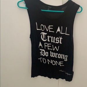 Forever 21 tank with Shakespeare quote size s